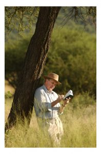 Sandy McCall Smith, author of 'No 1 Ladies Detective Agency' and the following books in the series. In Botswana returning to some of the people and areas that are the base to his 'Bestselling' Books. Sandy McCall Smith relaxing and reflecting on his return to Botswana. Pictured in the bush near the old Lobatse Road. Pictures by Chris Watt Mobile: 07887 554 193
